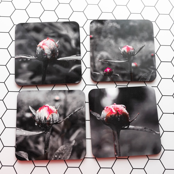 Other - Flower Coasters, set of 4 with original photos